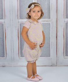 Mauve & Green Vintage Damask Romper - Infant #zulily #zulilyfinds #trufflesruffles
