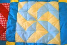 """Inside Out Tied Quilt Tutorial. How to tie a quilt without having knots & """"tails"""" show on the outside! Which is super cool. But seriously with this quilt pattern? Was it made for hitler? Quilting Tips, Quilting Tutorials, Hand Quilting, Machine Quilting, Quilting Projects, Quilting Designs, Sewing Projects, Sewing Ideas, Sewing Crafts"""