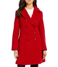 Katherine Kelly Double Breasted Fit-and-Flare Cashmere Blend Coat #Dillards