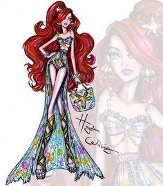 Hayden Williams Fashion Illustrations: Disney Divas 'Beach Beauties' by Hayden Williams: Ariel Hayden Williams, Disney Princess Fashion, Disney Style, Moda Disney, Ariel Disney, Ariel Ariel, Fashion Art, Fashion Models, Trendy Fashion