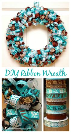 This is a gorgeous ribbon wreath in beautiful blues and browns. Love that aqua!