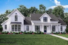 4-Bed Modern Farmhouse with Bonus Over Garage - 51773HZ | Architectural Designs - House Plans