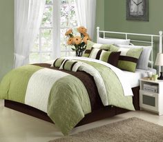 This pieced quilted patchwork comforter set is so elegant yet sophisticated and modern. Color blocking tone on tone add a very colorful yet extra sharp look. Soft floral embroidered are also a plus to create that old world charm to any room décor. #OVERSIZED AND OVERFILLED. #LuxBed #ChicHome #Green #Brown  #Bedding #Comforter #quilted