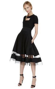 【Donna Karan】Sculpted Bonded Jersey Circle Skirt  $1,595