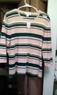 PLUS SIZE Sweater CJ Banks PULLOVER Yellow Sage Green Blue STRIPES 1X    NWT #CJBanks #Pullover