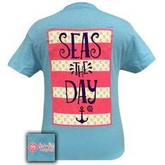 Girlie Girl Southern Originals Seas the Day Anchor Sky Blue T-Shirt