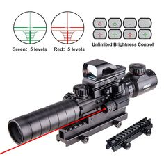 "Pinty 4 in 1 Scope Combo 3-9x32EG Tactical Rangefinder Illuminated Rifle Scope + 4 Reticle Red&Green Reflex Sight Quick Release + Red Dot Laser Sight + 14 Slots 1"" Compact High Riser"