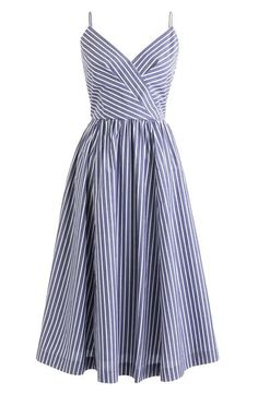 Women's Petite Midi Party Dress In Shirting Stripes - Women's Dresses Pretty Dresses, Sexy Dresses, Dress Outfits, Fashion Dresses, Dress Up, Cute Outfits, Best Casual Dresses, 1950s Dresses, J Crew Dress