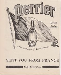 Free Vintage Clipart, Vintage Magazine Ads and Vintage Artwork Perfect for Home & Man-Cave Decor: Vintage 1917 Perrier Drinking Water Original Print Ad - The Champagne of Table Waters
