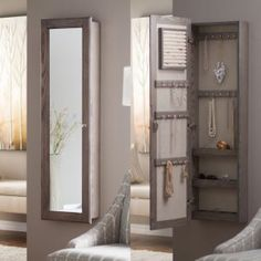 Wall Mounted Locking Mirrored Jewelry Armoire - Driftwood - Jewelry Armoires at Hayneedle