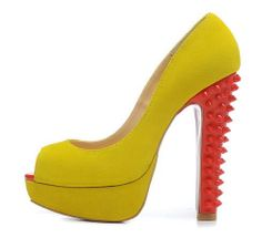New spring 2014 women open toe yellow matter leather red spikes thick heels red bottom high heels shoes,designer platform pumps $84.80