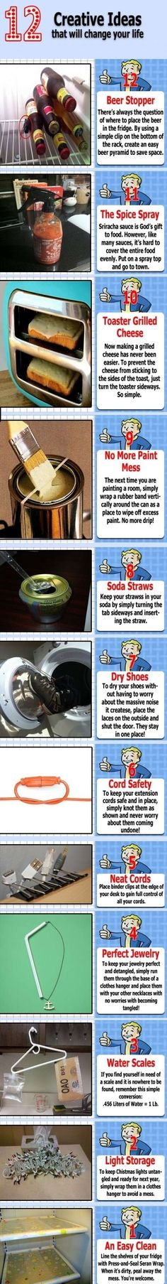 """12 LIFE HACKS"" - Good simple ideas. Done a couple similar to this before, but not all :)"