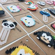 Idea Perler Bead Disney, Diy Perler Beads, Perler Bead Art, Pearler Beads, Melty Bead Patterns, Hama Beads Patterns, Beading Patterns, Kawaii, Beaded Bookmarks