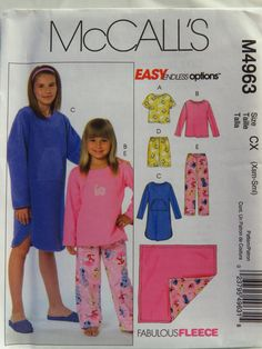 McCall's 4963 Children's/Girls' Tops, Gown, Shorts, Pants and Blanket