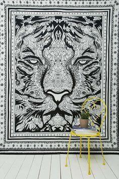 Wandbehang mit handgezeichnetem Tigermotiv