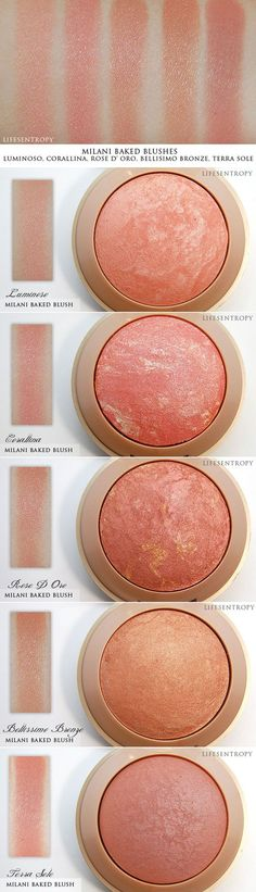 WANT IT :: SWATCHES :: Milani Baked Blush...I want Luminoso (compared to NARS Orgasm) Rose D'Oro (compared to MAC MSF Stereo Rose) Coralina (a pinky coral w\/ silver glitter) Belissimo Bronze (shimmery peachy gold). Terra Sole is a matte deep rosy pink. | #lifesentropy