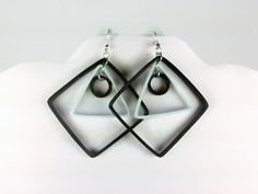 Black and White Earrings Geometric Earrings, white and black earrings, large diamond shaped earrings, paper quilling earrings, diamond hoops