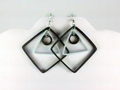 Black and White Geometric Earrings, Paper Quilled Earrings - black white earrings, paper quilling earrings, black earrings, white earrings