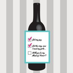Will You Be My Bridesmaid Wine Label, Maid of Honor, Matron of Honor, Bridal Party, Wedding, Custom, Personalized, Label, Sticker, Favor by DesignsByTenisha