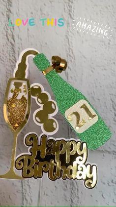 Happy 21st Birthday, Happy Birthday Cake Topper, Birthday Diy, Diy Cake Topper, Cupcake Toppers, Cricut Cake, Cake Banner, Diy Birthday Decorations, Cricut Craft Room