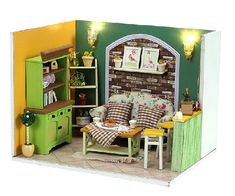 1:24 Miniature Dollhouse  DIY Kit Green Island Tea Time with Light Craft Project