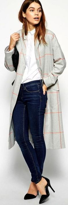 Grey And Red Check Duster Coat