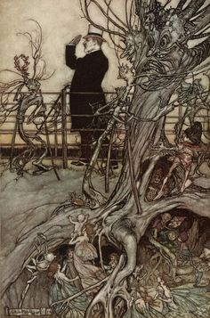 'Peter Pan in Kensington Gardens' illustrations by Arthur Rackham.  Written by J.M. Barrie, 1906.
