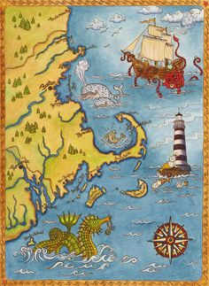 New England Coastal Map Cape Cod Sea Monster Art by SepiaLepus, $19.00