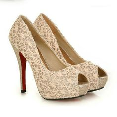 Sexy retro lace spliced solid color peep-toe platform stiletto high-heeled shoes