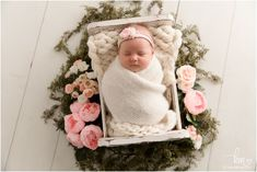 baby with flowers around her - blush and green newborn photo Newborn Photography Props, Newborn Session, Newborn Photos, Newborn Photographer, Photography Ideas, Carmel Indiana, Baby Sister, New Baby Products, Blush