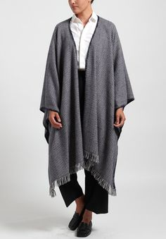 Alonpi Cashmere Houndstooth Poncho in Midnight | Santa Fe Dry Goods . Workshop . Wild Life Santa Fe Dry Goods, Houndstooth Scarf, Formal Pants, Officine Creative, Blanket Stitch, Saturated Color, Chic Outfits, Size Chart, Cashmere
