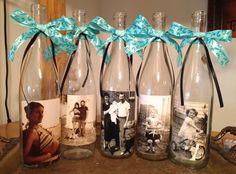 mod podge work on plastic | Mod Podge photos on wine bottles for center pieces. | wedding Beatriz