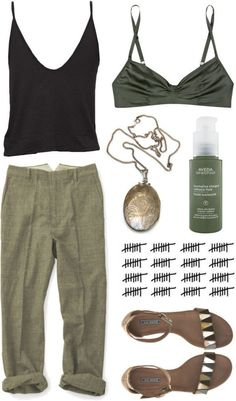 Get in our closet! We love everything about this casual and easy outfit for summer! And those gold sandals are SO GOOD. Green is the new black in our books! Let us provide some green inspiration to your marketing approach too! Mode Outfits, Casual Outfits, Fashion Outfits, Womens Fashion, Fashion Tips, Fashion Trends, Earthy Outfits, Dinner Outfits, Casual Pants