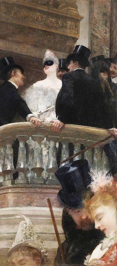 Le Bal de l'Opéra in Paris by Henri Gervex. Classic Paintings, Beautiful Paintings, Art Paintings, Fallen London, Masquerade Ball, Art Plastique, Famous Artists, Oeuvre D'art, Les Oeuvres