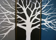 From floor to ceiling using variants of black & blue,blend colors @varying widths around the room. Start @door, black.