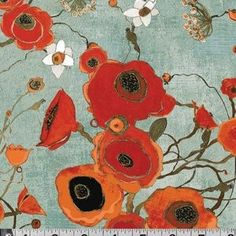 How pretty is this?!  Karen Tusinski - Gallery Fiori - Large Poppies in Teal. quilty-things