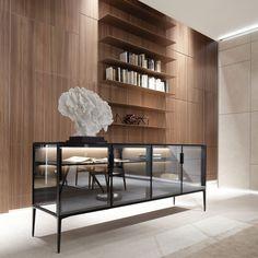 luxe vrijstaand dressoir in glas en aluminium italiaans design rimadesio alambra