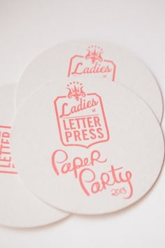 Oh So Beautiful Paper: Paper Party 2013! Coasters by the Ladies of Letterpress, Photo Credit: Charlie Juliet Photography