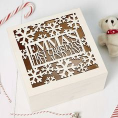A beautiful Personalised Wooden Keepsake Box perfect for babys first christmas! Keep all things precious in this beautiful personalised keepsake box.Once personalised each keepsake box is hand finished to a high standard. Need your keepsake box in a hurry? Please do contact us via the contact the seller option and we may be able to help with a quicker turnaround time for you. Please Note: Personalisation will be identical to information entered, please ensure all wording is included when…