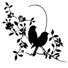 Flora Flowers with Birds Vinyl Wall Decal Art Flora Blumen mit Vögeln Vinyl Wall Decal Art Bird Stencil, Stencil Art, Stencil Designs, Stencil Patterns, Vogel Silhouette, Bird Silhouette, Stencils, Wall Painting Decor, Wall Decor