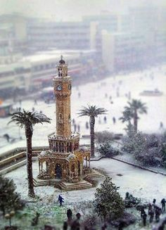 Tilt-Shift photo of Izmir Clock Tower in the Snow- Nomadic View