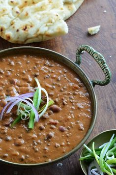 Despite its extended preparation time, butter lentils are best homemade and served with naan.