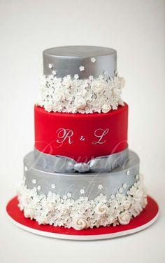 Silver / Red / White Wedding Cake