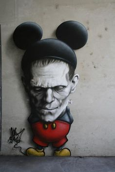 Frankenstein Mickey Mouse spray paint on wall - by CART1 #R0UGH PIN MIX