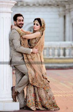 Skin Bridal Dress for Those Think beyond Red – Designers Outfits Collection Indian Wedding Poses, Indian Wedding Couple Photography, Pakistani Wedding Dresses, Bridal Photography, Pre Wedding Poses, Pakistani Bridal, Photography Ideas, Couple Wedding Dress, Wedding Couple Photos