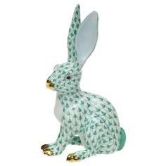 Herend rabbit figurine - fishnet green. If I were the kind of person who collects figurines I would be ALL OVER this. The color, the pose, the paint - it's all gorgeous. And how can you not love those ears??
