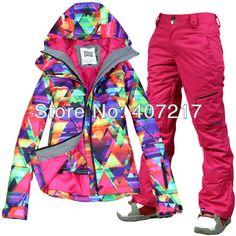 2014 womens ski suit snowboard set women ladies snow suit skiwear geometric  jacket and red pants 003ec90ca7