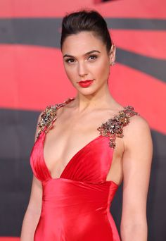 """Wonder Woman"" star Gal Gadot was a screen siren in a sexy satin gown paired with red lips."