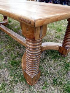 Norwegian. Dining table in Northern pine.  RARE , bold , heavy & hand worked. 92'' x 40'' . Seats 8 .  One of a kind and for sale @ $2500.00