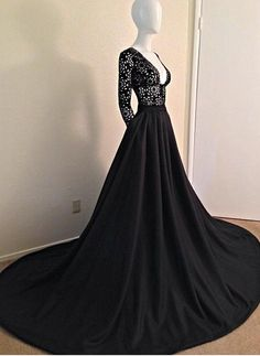 Charming Black Lace Prom Dress,Sexy Deep V-Neck Evening